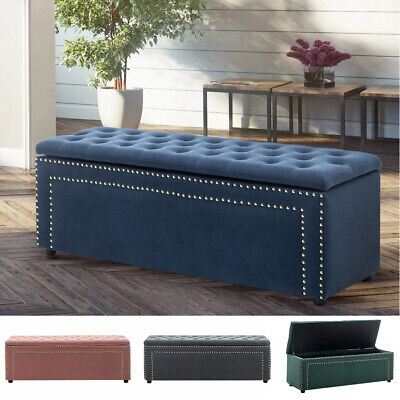 Large Chesterfield Footstool Bedroom Window Seat Ottoman Storage Box Bench Seat • 129.95£