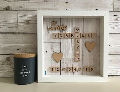Scrabble Art Picture Frame Personalised Love Heart Date Wood Panel Neutral • 25£
