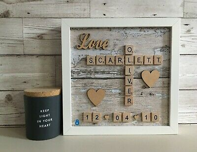 £26 • Buy Scrabble Art Picture Frame Personalised Love Heart Date Neutral Distressed