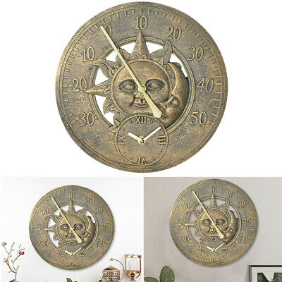 £19.95 • Buy Sun & Moon 2-in-1 Wall Clock Thermometer Roman Numeral Outdoor Garden 12 Inch UK