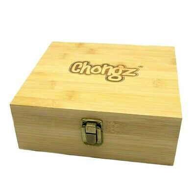 £17.99 • Buy Large Chongz  Bamboo Rolling Tray Box  Stash Storage 19 By 18 By 7cm