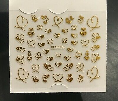 AU2.99 • Buy Valentines Day Nail Art Decal 3D Stickers Metallic Gold Love Heart Manicure AU