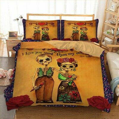 Skull Retro Duvet Cover Bedding Set With Pillow Cases Single Double King Sizes • 28.68£
