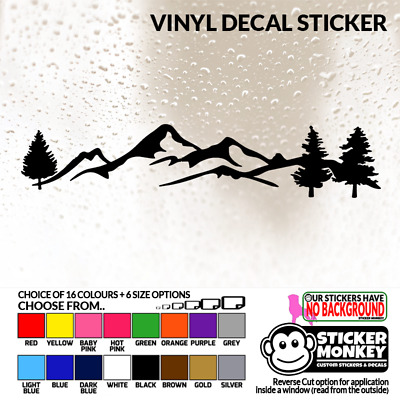Mountain Tree Scene (V1) - Vinyl Decal Sticker With 6 Size & 16 Colour Choices! • 11.99£