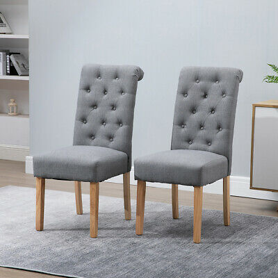 £149.99 • Buy 2x Dining Chairs Button Tufted High Back Padded Seat Grey Kitchen Office Home BN