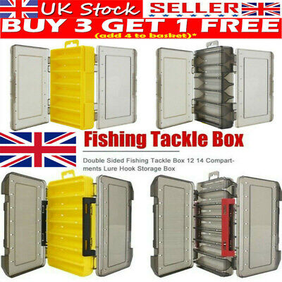 Double Sided Fishing Lure Bait Tackle Storage Box Plastic Box12/14 Compartment • 5.95£