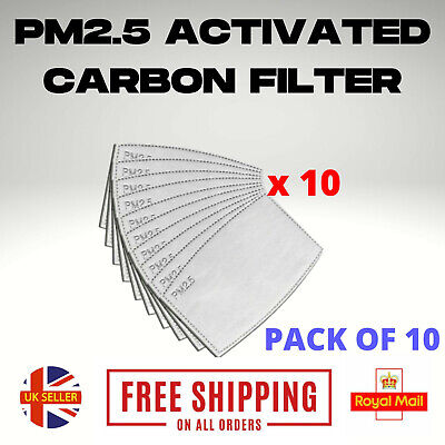 UK PM2.5 FILTER For Washable Reusable Cotton Face Mask Activated Carbon X 10 • 2.34£