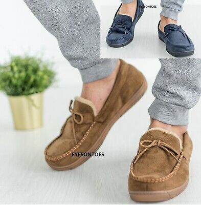 Mens Sheepskin Fur Lined Winter Loafers Warm Faux Suede Moccasins Slippers Size • 13.99£
