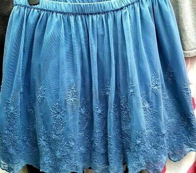 Size 12,Blue,heavily Embroidered Net, Flared,lined Short Skirt By Indigo,M&S • 10£