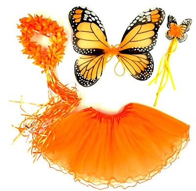 Tante Tina Butterfly/Fairy Costume For Girls - 4 Piece Set With Wings, Wand, And • 18.02£