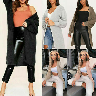 Long Knitted Cardigan Open Front Balloon Sleeve Oversized Coat Winter Womens New • 17.95£