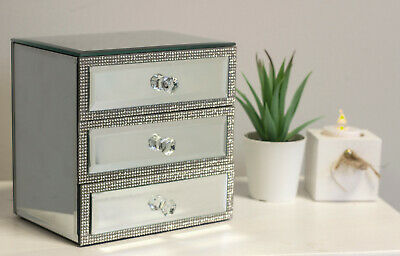 £17.99 • Buy Luxury Mirrored Glass Diamante Jewellery Box 3 Drawer Chest Sparkle Crystal Gift