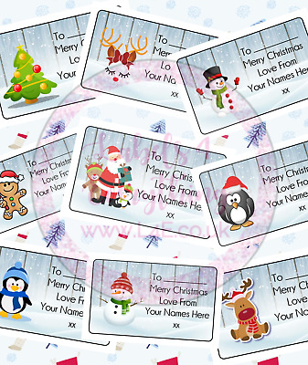 Personalised Christmas Gift Tags Present Stickers Labels Wrapping Xmas Santa • 1.99£