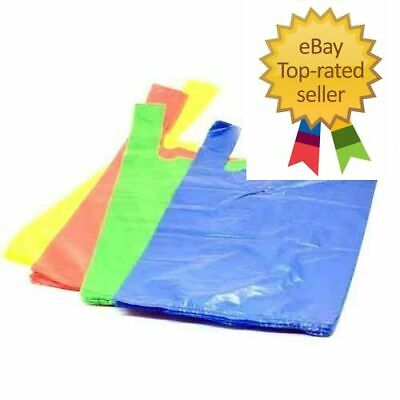 Large Jumbo Blue Green Strong Recycled Eco Plastic Vest Shopping Carrier Bags  • 23.99£