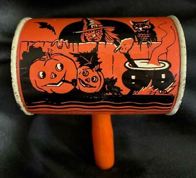 $ CDN76.11 • Buy Vintage ~ Witch Tin Halloween Noisemaker W/ Wooden Handle Metal Cylinder Shaker