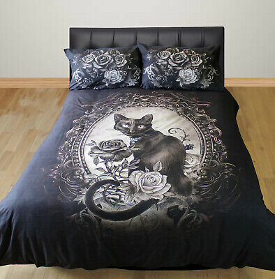 Paracelsus Duvet Cover Set Alchemy Gothic Cat Pendant Mirror Rose Red Grey Black • 50.99£
