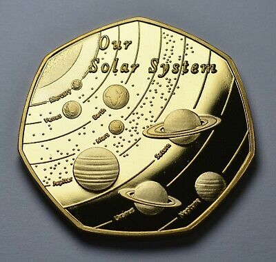 OUR SOLAR SYSTEM 24ct Gold Commemorative. Space/Planets/Stars Earth/Moon/Mars  • 7.99£