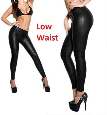 Ladies High Low Waist Black Faux Leather Leggings Wet Look Stretch Tight Pant • 8.49£