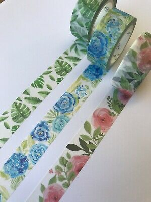 AU4.99 • Buy Washi Tape 15mmx7m Camellia Leaves Hydrangea Scrapebooking Planner Diary Sticker