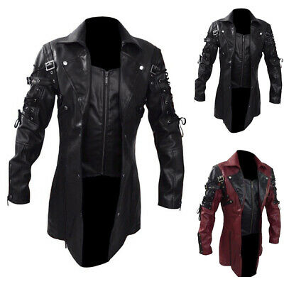 Mens Steampunk Gothic Faux Leather Jacket Goth Punk Coat Trench Coat Mid Length • 42.08£