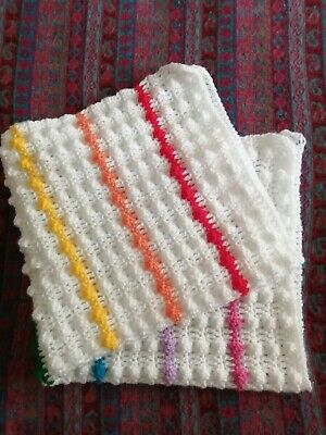Crocheted  Handmade Baby Blanket - 7 Stripe Rainbow And White New • 16.50£