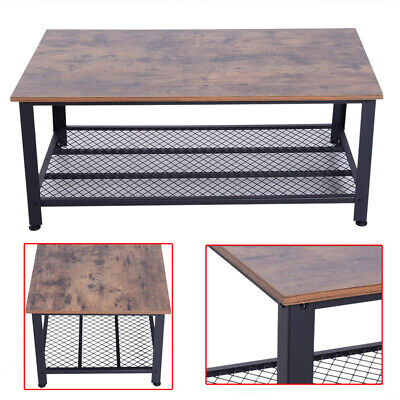 2-Tier Modern Wooden Coffee Table Retro Industrial Style Side Desk Living Room • 51.78£