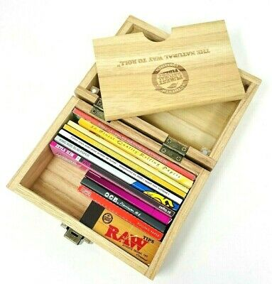 RAW Wooden Deluxe Rolling Storage Box Gift Set Classic Smoking Papers Grinder • 16.99£