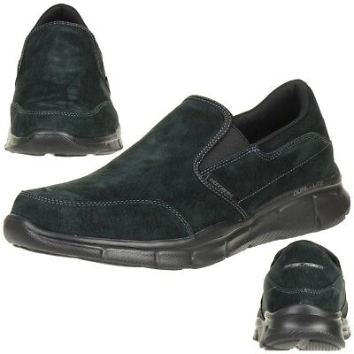 SKECHERS Equalizer Mind Game Men's Slippers Moccasin Slip On Leather Black • 55.69£