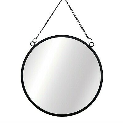 Sass & Belle Black Round Mirror Chain Link Wall Hanging Metal Frame 25cm Decor • 13.99£