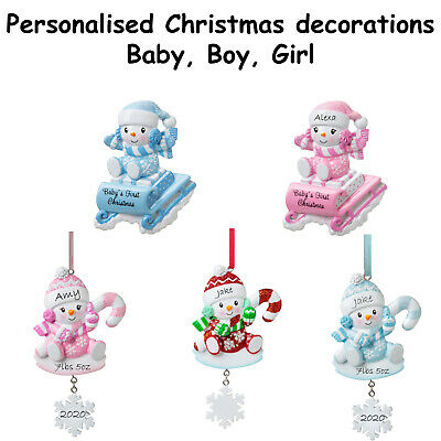 Personalised Christmas Decoration - Baby Girl,  Baby Boy, Babies First Christmas • 9.95£