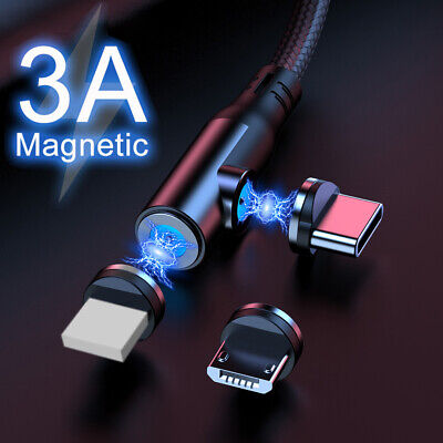 3 In 1 Magnetic Data Fast Charging Charger Cable IOS Type C Micro USB Sync Lead • 3.98£