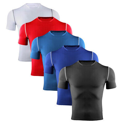 Mens Compression Top Armour Base Layer Short Sleeve Activewear Tops Sports Shirt • 7.99£
