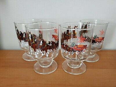 $ CDN10.41 • Buy Set Of 4 Budweiser Beer Clydesdale Horse And Wagon Glasses - Vintage Pedestal