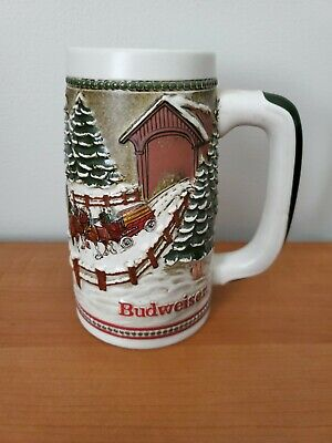 $ CDN9.81 • Buy 1984 Budweiser Holiday Christmas Beer Stein/Mug  - Clydesdale Covered Bridge