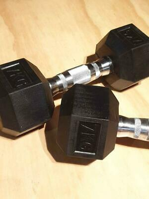 AU98 • Buy 7KG X 2pcs Dumbbell Home Gym Weights Dumbells Hexagon Rubber Chromed Centres