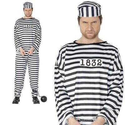 Adult Mens Convict Costume Robber Prisoner Police Stag Party Fancy Dress Outfit • 10.99£