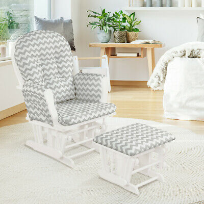 Nursing Glider Rocking Chair Reclining Maternity Chair W/Footstool Baby Nursery • 159.99£