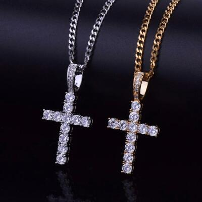 £19.99 • Buy Iced Out Cross Hip Hop Necklace Pendant Jewelry Diamond Silver Gold Chain Bling