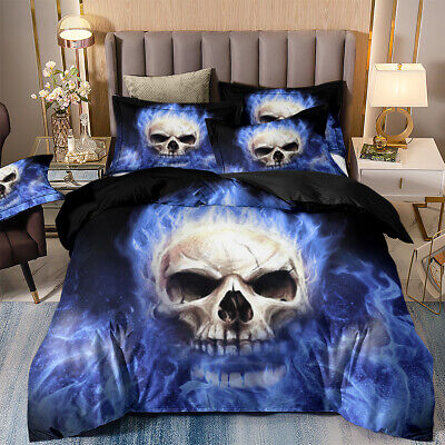 Duvet Cover With Pillow Cases Bedding Set Single Double King Sizes 3D Skull Frie • 25.32£