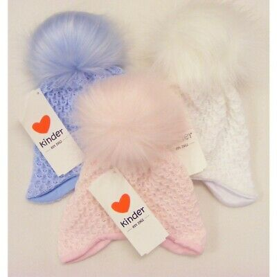 Kinder Baby Boys Girls Spanish Romany Cotton Lined Knitted Faux Fur Pom Pom Hat • 10£
