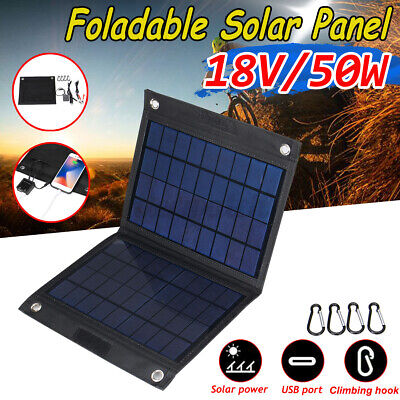 £20.79 • Buy 50W 18V Solar Folding Panel Dual USB Phone Charger Traval Camping Outdoor Hiking