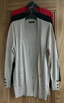 £10.99 • Buy Ladies F&F New Black Red Beige Button Sleeve Edge Pocket Cardigan Top Size 6 -12