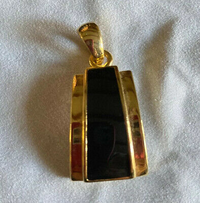 $ CDN6.59 • Buy Retired Lia Sophia Jewelry Gold Plated Polished Black Enamel Pendant Slide NWOT