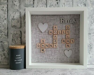 £26 • Buy (a) Scrabble Art Picture Box Frame Word Art Personalised 2 Hearts - Grey Linen