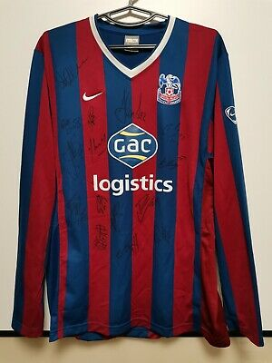 SIZE XL Crystal PALACE 2009-2010 SIGNED HOME FOOTBALL LONG SLEEVE SHIRT JERSEY  • 100£