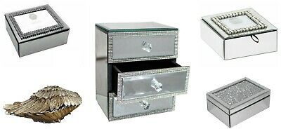 Mirrored Jewellery Box Diamante Dressing Table Storage Chest Ladies Xmas Gift • 16.99£