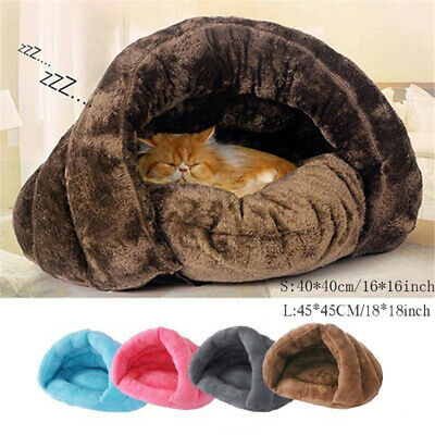 Pet Cat Dog Nest Bed Puppy Soft Warm Cave House Winter Sleeping Bag Mat Pad UK • 12.69£