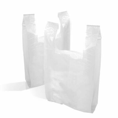 £5.75 • Buy Strong Plastic Vest Carrier Bags High Tensile White *All Sizes* S1 S2 S3 S4