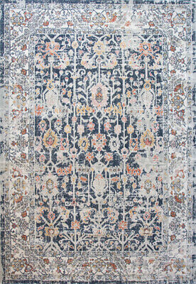 Blue & Terra Distressed Area Rug Low PIle Transitional Moroccan Living Room Rugs • 59.95£