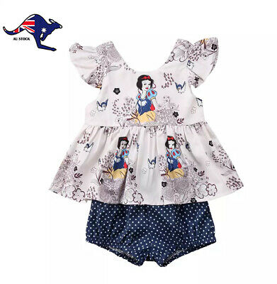 AU15 • Buy Baby Toddler Girl Clothes Summer 2 Piece Sunsuit With Snow White Print